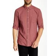 John Varvatos Star USA Long Sleeve Roll Up Slim Fit Shirt SCARLET