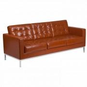 Canapea 3 locuri FLOR, piele regenerata maro