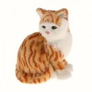 Alcoa Prime Plush Toy Mini Simulation Ginger Tabby Sitting Cat Decor Kid BIRTHDAY Gift