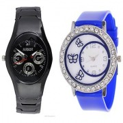 i DIVA'S Rosra Black Men and Glory Blue Round Dial Butterfly Women Watches Couple for Men and Women by japan