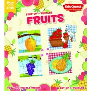EduQuest - Jigsaw Puzzle - Fruits - 4+ years old - Set of 4 puzzles - 10,15,20,25 piece puzzles - Mango(10 piece), Strawberry(15 piece), Grapes(20 piece), Pineapple(25 piece)