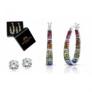 Inside Out Swarovski Crystal French Lock Hoops With 2.00Ct Stud And Gift Box Hoop Multi-color Swarovski Elements Gold