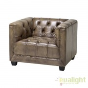 Fotoliu design clasic, elegant cu tapiterie din piele maslinie Paolo 108228 HZ