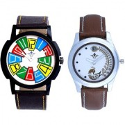 Officially Multi Colour And Brown Peacock Couple Casual SCK Analogue Watch By Google Hub