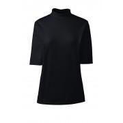 ランズエンド LANDS' END レディース・スーピマ・インターロック・スタンドネック/無地/五分袖(ブラック)
