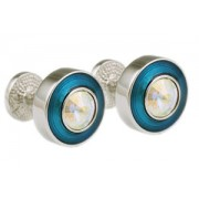 Mousie Bean Crystal Cufflinks Round Polo 004 Lt. Blue/AB