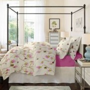 Lenjerie de pat Dormisete bumbac 100 Magnolia Butterfly Rose pentru pat 2 persoane 4 piese 200x220 / 50x70 cearceaf pat uni Roz Rosebloom