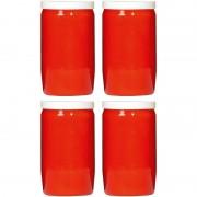 Candles by Spaas 4x Rode grafkaarsen/gedenklichten 7 x 18 cm 9 dagen