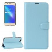 Para ASUS Zenfone 3S Max (zc521tl) Litchi Texture Horizontal Flip Funda De Cuero Con Soporte Y Ranuras Para Tarjetas Y Cartera (azul)