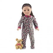 18 Inch Doll Clothes | Cozy Footed Pink Cheetah Print Pajama Outfit Onesie with Teddy Bear | Fits American Girl Dolls by Emily Rose Doll Clothes
