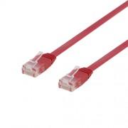 Deltaco nätverkskabel U/UTP Cat6, flat, 1m, 250MHz, röd