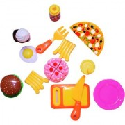 Emob 12 PCs Realistic Velcro Sliceable Food Kitchen Play Set Toy with Chopping Board and Knife