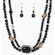 Just Women Victorian Double String Genuine Black Onyx Necklace set with Pendant and Earrings