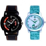 Orange Smarty Sporty With Lite Green Peacock Feathers Couple Casual Analogue SCK Wrist Watch