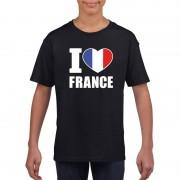 Bellatio Decorations I love France/ Frankrijk supporter shirt zwart jongens en meisjes S (122-128) - Feestshirts