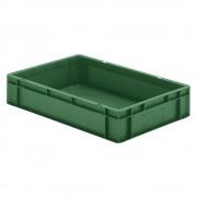 Euro-Format-Stapelbehälter, Wände und Boden geschlossen LxBxH 600 x 400 x 120 mm grün, VE 5 Stk