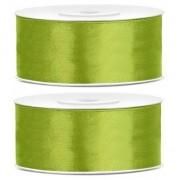 Geen 2x Satijn sierlint rollen lime groen 25 mm
