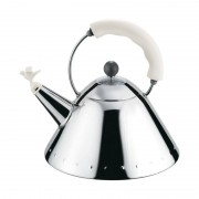 Alessi Kettle Small Bird-Shaped Whistle Silver And White
