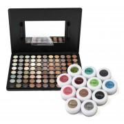 88-Color Cálido Paleta Sombra De Ojos Plus 12 Polvos Minerales Pigmento Sombras De Ojos