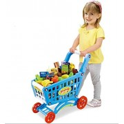 Jilani Children Shopping Trolley Cart Toy Play Food Set Fruits and Vegetables Kids Pretend Shop Push Along Toy 3 in 1 (Blue)