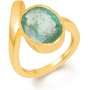 Kundali Emerald Panna Green Coloured Original Stone with Premium Quality 18kt Gold Gemstone Ring and Certificate