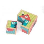 JANOD Klocki drewniane Puzzle 6w1 Pierwsze słowa,
