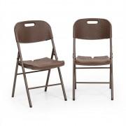 Blumfeldt Burgos seat, összecsukható szék, 2 darabos szett, hdpe, acél, rattan kialakítás, barna (GDM10-Burgos Seat)