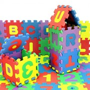Lakshya-Puzzle Mats|Eva Foam A to Z and 0 to 9 Puzzle Mats|Alphabets and Numbers Puzzle Mat Jigsaw for Kids Playing (Medium)