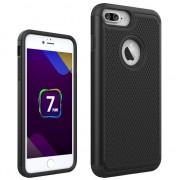 GadgetBay Coque très robuste en deux parties Coque rigide en silicone avec goujons noirs pour iPhone 7 Plus 8 Plus, noir