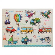 Moonvvin Chunky Wooden Puzzles for Toddlers - Transportation Series Jigsaw Puzzle Sets