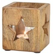 Bellatio Decorations Houten windlichtjes / theelichthouders met sterren 9 cm
