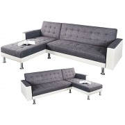 Coltar extensibil Chaise Lounge alb/ antracit