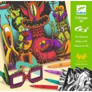Atelier de colorat 3D - Monstruleti simpatici - Set creativitate si indemanare