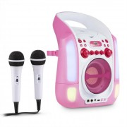 Kara Illumina Impianto Karaoke Luci LED 2x Microfoni CD USB MP3 Rosa
