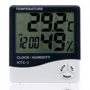 """HTC-1 Termometro para interiores de 4"""" LCD higrometro - blanco + negro"""