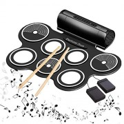 Toy4Pick Portable 7 pad Electronic Roll up Drum with Built-in Speaker and 2 Foot Pedals and 2 Drum-Stick (Black)