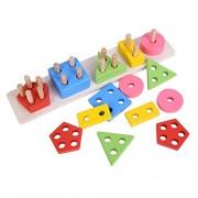 Wooden Geometric Shape Matching 5 Column Blocks Educational & Learning Toys,Wooden Geometric Shape Sorter Puzzle (Multicolor)