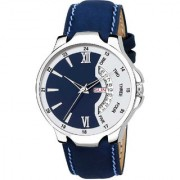 New Katrodiya Blue White Day And Date Dial Leather Looking Professional Analog Watch For Men