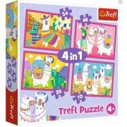 "Trefl Puzzle Slagalica ""4in1"" - Llamas on vacation (34322)"