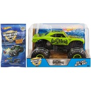 Hot Wheels Gas Monkey MONSTER JAM 2017 Green Truck 1:24 & Mini Mystery Trucks Blind Bags (Series 1) with Launcher 25th Anniversary 2017