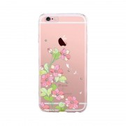 Husa Protectie Spate Devia Silicon Bluebell Pink (motiv floral cu cristale) pentru Apple IPhone 6/6s