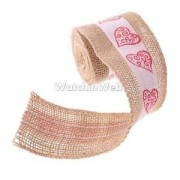 Alcoa Prime Hessian Burlap Ribbon Heart Trim Edge Jute Tape Wedding Party Supplies 2m