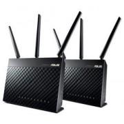 WiFi система AiMesh AC1900 (RT-AC67U 2 Pack), LAN x 4, WAN x 1, 600 Mbps/1300 Mbps, USB 2.0, USB 3.0, ASUS AIMESH AC1900