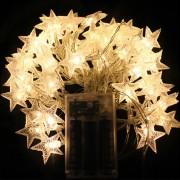 6M Con 40 Lámparas De Cadena De Forma Estrella Para Navidad O Adornar - Blanco Cálido
