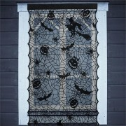 Halloween LED Light Up Black Lace Window Curtains Door Scary Cloth Party Decorations