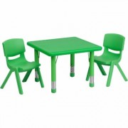 Flash Furniture Kids' Activity Table Set - Green, 24Inch Square Table, 2 Chairs, Model YCX23SQTBLGNR