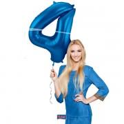 4. szám, fólia lufi, 86 cm, kék