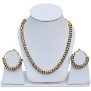 Lucky Jewellery Elegant White Color Stone Antique Plating Necklace With Earring For Girls & Women