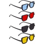 shadz Retro Square Sunglasses(Blue, Red, Black, Yellow)