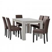 PremiumXL - [en.casa] Elegantan blagovaonski set - stol(hrast/bijela) + 6 stolica (smeđa)